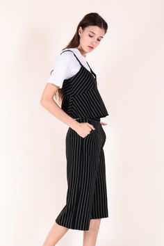Striped Spag with Inner Piece and Pants Set (Black)  $52