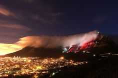 Cape Town, South Africa: Table Mountain illuminated