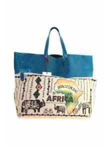 """Bolso shopping sin forro en color azul jade, con pochette extraíble en lona personalizada y con el diseño """"Braccialini for África"""".     87.50€ http://www.nupani.com/bolsos/349-bolso-shopping-braccialini-for-africa-azul-jade.html"""
