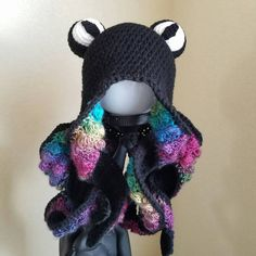 "The original ""Rainbow"" Octopus Beanie Hat with Realistic Tentacles - Made to Order Kawaii Crochet, Cute Crochet, Crochet Crafts, Crochet Yarn, Yarn Crafts, Crochet Toys, Crochet Stitches, Crochet Projects, Crochet Animal Hats"
