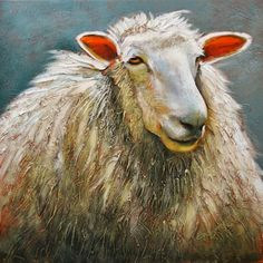 'Ewe Looking At Me'  acrylic painting sheep Linda Wilder Creative Expressions