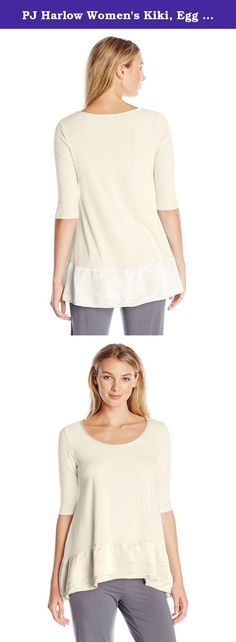 PJ Harlow Women's Kiki, Egg Nog, Medium. The Kiki offers an a line shape for maximum flexibility with different body types. A high-low back creates a hip asymmetrical look. It is made of cotton spandex for an easy stretch and flexibility with size. Surround yourself in buttery softness when you put on your Kiki; this garment goes great with our jolie.