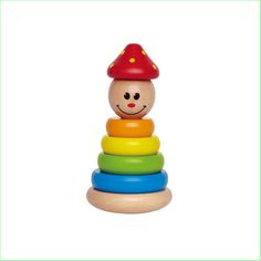 Baby Stacking Toys Wooden Toys Hape Stack and Swivel Clown www.greenanttoys.com.au
