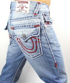 39a8367531573 True Religion Hand Picked Ropestitch Straight Super T Jeans Sz (