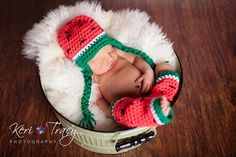 Photo Prop Idea...baby girl hat and leggingswatermelon setleggings and by Beansknots, $36.00