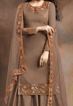 Brown Silk Embroidered Kameez With Palazzo upto XXL suit France Jagong Punjabi Suits Party Wear, Party Wear Indian Dresses, Designer Party Wear Dresses, Kurti Designs Party Wear, Embroidery Suits Punjabi, Hand Embroidery Dress, Embroidery Suits Design, Embroidered Clothes, Punjabi Suits Designer Boutique