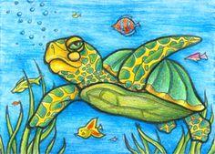Sea Turtle ATC by ~mithrril on deviantART