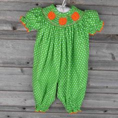 Green Polka Dot Pumpkin Smocked Long Bubble by Smocked Auctions