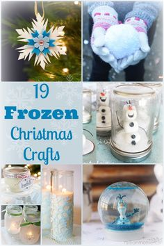 A collection of Christmas crafts from the Disney movie Frozen.