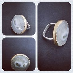 Quartz ring set in 9ct distressed gold on a sterling silver band