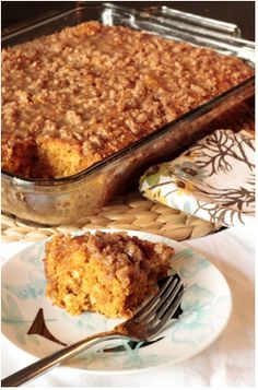 Tidbits  Talk: Cozy Fall Recipes I.  Pumpkin Coffee Cake with Brown Sugar Glaze.