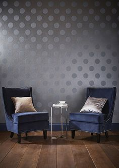 Beautiful light reflecting, crystal like beads embellish luxurious blue metallic textured paper. This design features large beaded polka dots that are perfect for all four walls. Metallic Wallpaper, Striped Wallpaper, Home Wallpaper, Wallpaper Roll, Accent Wallpaper, Graham Brown, House Design, Living Room, Interior Design