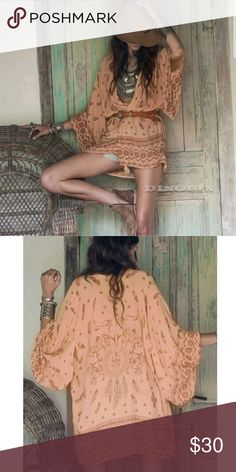 BOHO Desert Kimono Beautiful chiffon Desert Kimono size small. Peach color with dark chocolate designs. This is definitely one I'm having a hard time selling. It's gorgeous, It hangs just perfect like the stock photos. L'Origan Jackets & Coats