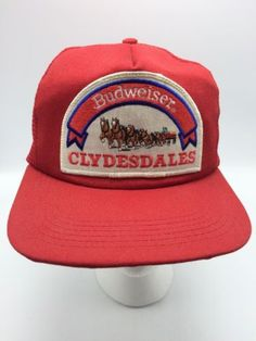 996a792fe25 Budweiser Clydesdales Trucker Hat Cap Red Mesh Vtg Snapback Beer Horse  Hitch USA. eBay. Vintage Patches ...