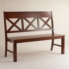 Furniture Brown Wooden Dining Bench With Four Legs And Crossed Back Placed On The White