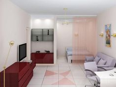 дизайн комнаты в однокомнатной квартире: зонирование, интерьер однушки, 10 кв. м, идеи