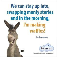We can stay up late, swapping manly stories and in the morning, I'm making waffles! - Donkey