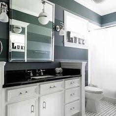Boy's Bathroom by Paloma Contreras Design via La Dolce Vita. Bathroom Kids, Bathroom Renos, White Bathroom, Interior Design Portfolios, Interior Design Work, Black And White Tiles, Black Walls, Wall Design, House Design