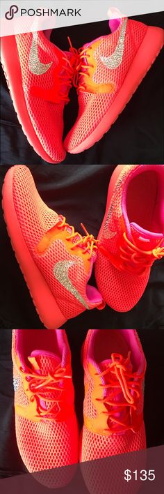 Women's Nike roshe one customized with Swarovski Brand new in box size 8 customized women's Nike roshe sneakers hand placed on the outside Nike swoosh. Nike Shoes Athletic Shoes