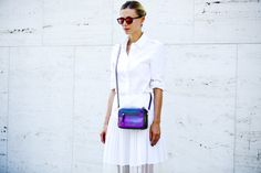 New York Fashion Week street style.  Love all white with this handbag