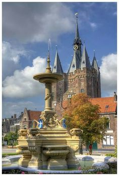Fontain and city gate clock tower, Sassenpoort, Zwolle, Netherlands