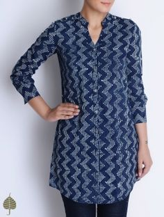 Natural Indigo-Ivory Bagru Printed Cotton Tunic by Jaypore