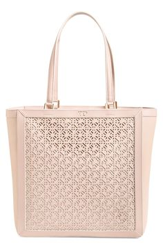 3bb0e62abcd9 Tory Burch  Fret T  Perforated Leather Tote
