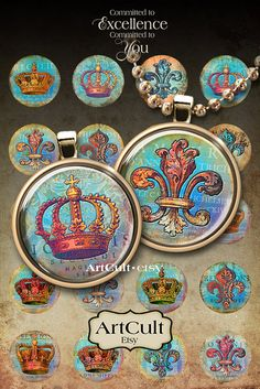 COPPER HERALDY  Digital Collage Sheet 1 inch size and by ArtCult, $4.60