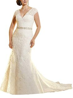 RightBride Womens White VNeck Lace Wedding Dresses for Bride Capped Sleeve Long Bridal Gowns 2017 Size 20W -- Want to know more, click on the image.