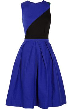 Preen Line Ivy Paneled Stretch-Cotton Drill Dress
