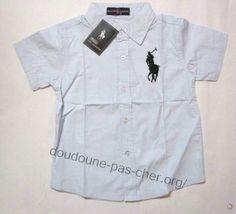 Chemise Ralph Lauren Enfant Pas Cher Court en Blanc