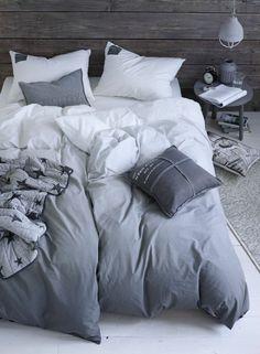 Bicolore parure de couette linge de lit en lin