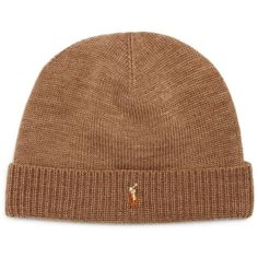 Polo Ralph Lauren Lux Merino Cuff Hat ($34) ❤ liked on Polyvore featuring men's fashion, men's accessories, men's hats, honey brown heather, mens brown fedora hat, polo ralph lauren mens hats and men's cold weather hats