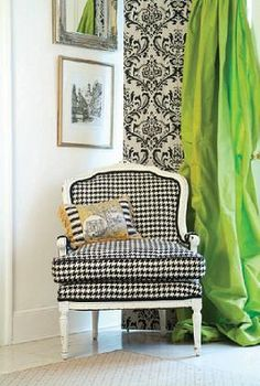black and white Houndstooth paired with chartreuse green is striking - Bedroom Design Ideas Shabby, Vintage Room, Furniture Styles, Upholstered Furniture, Chinoiserie, Houndstooth, Slipcovers, Decoration, Home Accessories