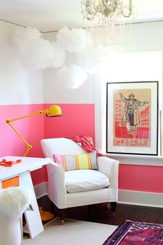 Bright color on the bottom half grounds and warms the bright white in this happy room!  10 Color Dipped Walls | Pure Inspiration