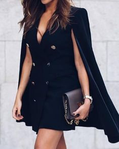 Double-Breasted Cloak Design Blazer Dress Women's Online Shopping Offering Huge Discounts on Dresses, Lingerie , Jumpsuits , Swimwear, Tops and More. Trend Fashion, Look Fashion, Fashion Outfits, Womens Fashion, Steampunk Fashion, Gothic Fashion, Looks Party, Leopard Blazer, Nice Dresses