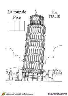 Coloriage de la Tour de Pise en Italie.