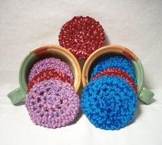 Yarn Scrubbies Ecofriendly scrubbers blue purple by JazzysCrochet