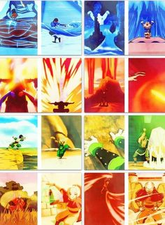 The Legend of Korra/ Avatar the Last Airbender: water, earth, fire, air