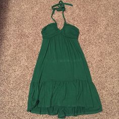 Green halter dress Fun summer cotton dress. MM Couture Dresses