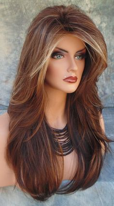 """ANGELICA"" ROP NORIKO WIG COLOR CHOCOLATE SWIRL LONG FLOWING WAVES SEXY CUTE NIB #noriko #FullWig"