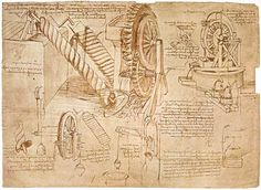 Leonardo da Vinci Facsimile of Codex Atlanticus f.386r Archimedes Screws and Water Wheels (original copy in the Biblio)   #TuscanyAgriturismoGiratola