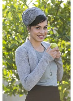 Triangular gray head covering with an elegant flower applique. Wear this every day, or to your next special occasion!