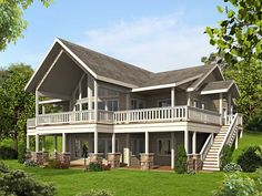 Bungalow , Contemporary , Cottage , Traditional House Plan 85242 with 4 Beds, 3 Baths Elevation Lake House Plans, Two Story House Plans, Basement House Plans, Mountain House Plans, Cottage House Plans, Bedroom House Plans, Craftsman House Plans, Dream House Plans, Small House Plans