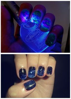 Glow in the dark space nails!