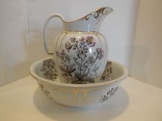 LARGE AUTHENTIC ROYAL IRONSTONE CHINA WARRANTED PITCHER & WASHBASIN -