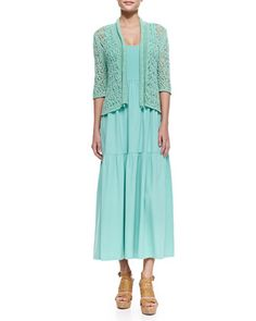 Joan Vass Cropped Tape-Yarn Cardigan & Tiered Long Tank Dress. This color prob more flattering