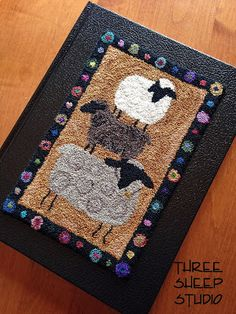 Punchneedle Design Mounted On Book - Three Sheep Studio