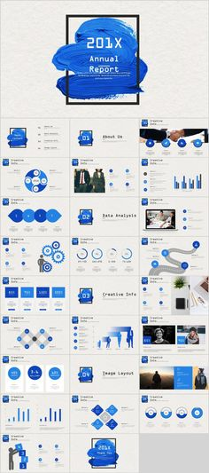Best Creative Blue work report PowerPoint template