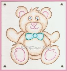Teddy Bear Embroidery Pattern for Greeting Cards by Darse on Etsy, $1.50